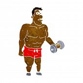 picture of weight lifter  - cartoon man lifting weights - JPG