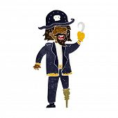stock photo of peg-leg  - cartoon pirate captain - JPG