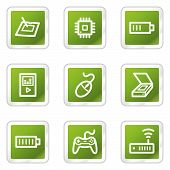 Electronics web icons set 2, green square series