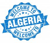 image of algeria  - Welcome to Algeria blue grungy vintage isolated seal - JPG