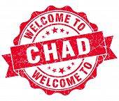 stock photo of chad  - Welcome to Chad red grungy vintage isolated seal - JPG