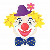 picture of clown rose  - The funny clown in a cap with rose flower - JPG