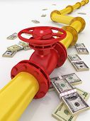 image of pipeline  - 3D rendered gas pipeline with money on white - JPG