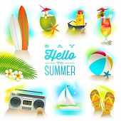 stock photo of butterfly fish  - Vector set of summer and beach vacations elements - JPG