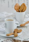 pic of shortbread  - Shortbread and a cup of coffee on wooden background