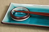 Plate, Dipping Bowl, With Chop Sticks poster