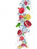 foto of dragon fruit  - Fresh fruit with water splash over white background - JPG