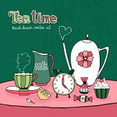 pic of jug  - Teatime Party Card or Invitation vector design with a teapot  cup and saucer  milk jug  sugar sweets and cake together with a clock showing time for afternoon tea on a pretty pink tablecloth - JPG