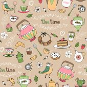 stock photo of teapot  - Hand drawn vector afternoon tea seamless background pattern with teapots  birds  cups  cakes  pastries and birds scattered on a beige background in square format suitable for wallpaper and textile - JPG