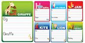 picture of cursive  - Childrens alphabet writing cards with cartoon characters on white - JPG