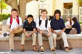 pic of playground school  - Male High School Students Hanging Out On School Campus - JPG