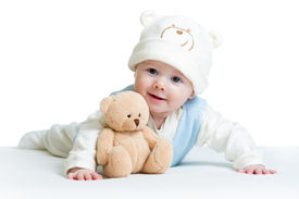 pic of cute animal face  - cute baby weared funny hat with toy - JPG