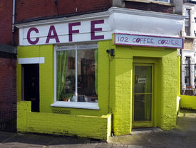 picture of hackney  - Small coffee corner shop painted with kelly green in Hackney - JPG