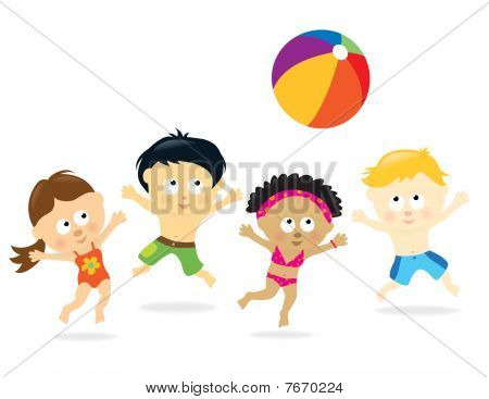Multi-Ethnic Beach Kids