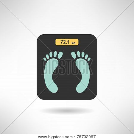Digital scales with feet prints in flat. Vector