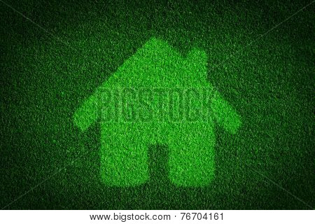 Green, eco friendly house, real estate concept. Overlay on grass background