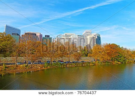 Rosslyn scenic skyline and Potomac river bank in autumn