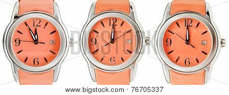 Set Of Orange Wristwatches With Midnight Time