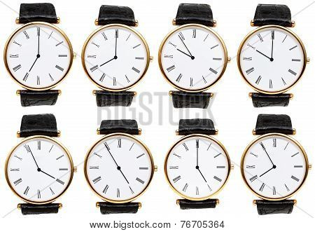 Set Of Wristwatch Dials With Different Time