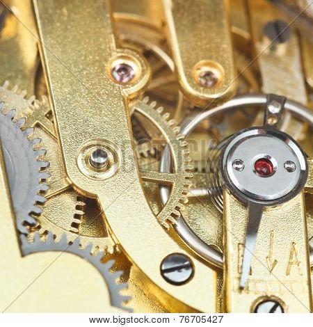 Brass Mechanical Clockwork Of Vintage Watch