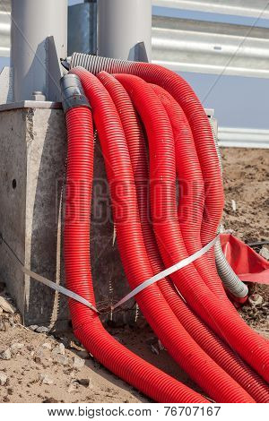 Bunch Of Electric Cables In A Protective Shell