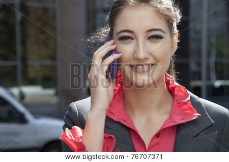 Portrait Of Business Wife With A Mobile Phone