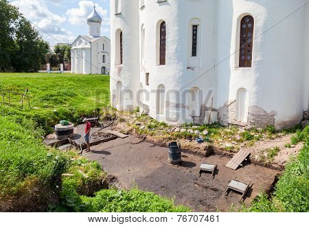 Novgorod, Russia - July 23, 2014: Archaeological Excavations At The Walls Of An Ancient Cathedral At
