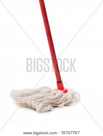 Closeup of red mop