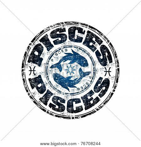 Pisces grunge rubber stamp
