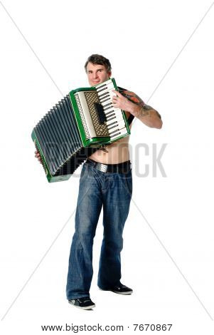 Plays Accordion
