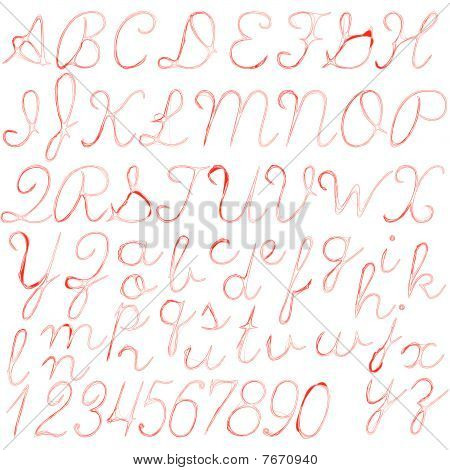 Red Abstract Alphabet