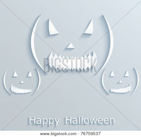 Halloween Poster Or Postcard With Pumpkins. Paper Design.