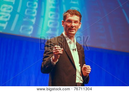 Berlin, Germany - November 11, 2014: Sap Member Of The Executive Board Bernd Leukert Delivers An Add