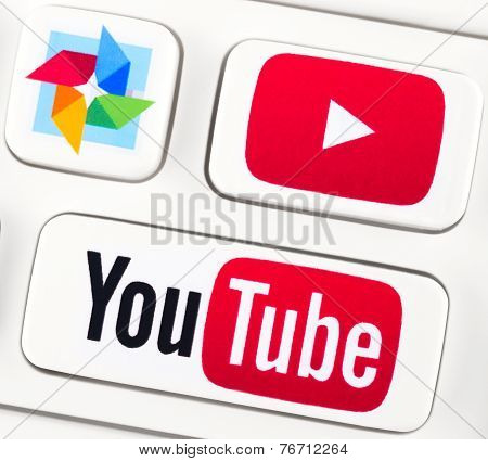 Youtube Logotypes On A Keyboard Buttons