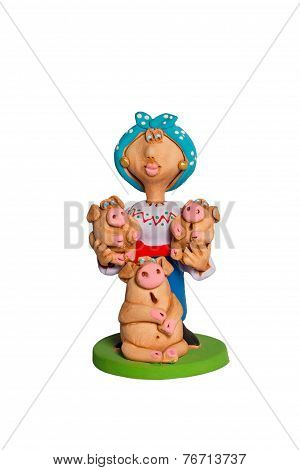 Statuette Of A Woman With Piglets