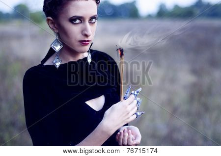 Witch Burning Dry Herbs