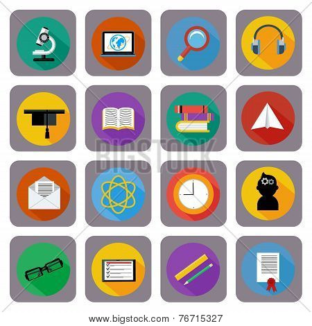 Icon set for online education, e-learning