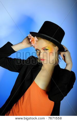 Elegant Fashion Woman With Creative Eye Make-up