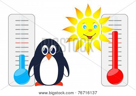 Sun And Penguin With Thermometers.