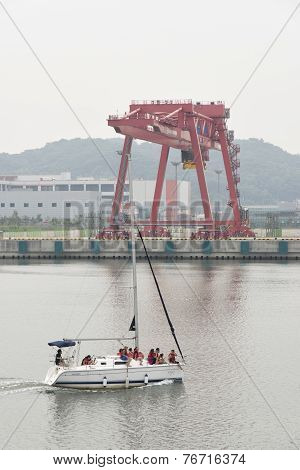 Gimpo, Korea - July 5, 2014: Tour Yacht On The Gyeongin Ara Waterway