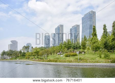Songdo, Korea - July 29, 2014: Songdo Central Park