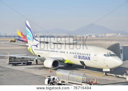 Gimpo, Korea - January 19, 2014: Airplane Of Air Busan At Gimpo Airport In Korea