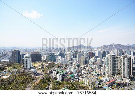 Seoul, Korea - April 04, 2014: View Of Jung-gu From Namsan In Seoul