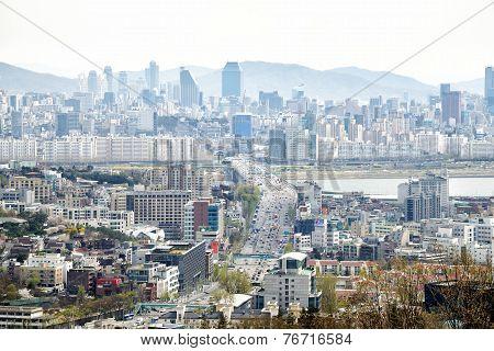 Seoul, Korea - April 04, 2014: View Of Yongsan And Gangnam From Namsan In Seoul