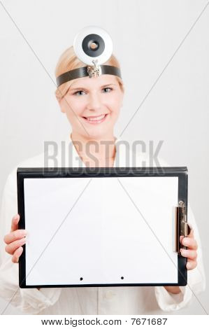 Beautiful female doctor with  a folder in white uniform