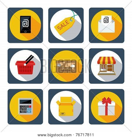 Icon set for mobile shopping, marketing, banking