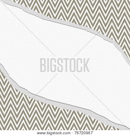 Brown And White Chevron  Zigzag Frame With Torn Background