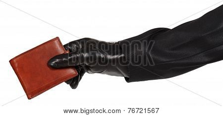 Thief In Black Suit Holding A Brown Leather Purse
