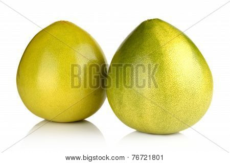 Two Pomelos Chinese Grapefruits Isolated On White