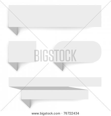 Blank paper banners with shadow template isolated on white background.